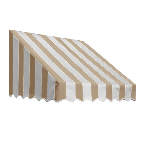 Awntech 4-Feet San Francisco Awning, 31 by 24-Inch, Tan/White ()