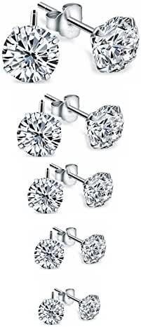 Zealmer 925 Sterling Silver Swarovski Elements Zirconia CZ Birthstone Stud Earrings