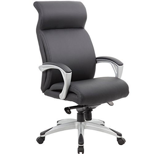 "Genesis Designs ""Beverly"" High Back Executive Office Chair with Sleek, Dual Wheel Casters, Leather Plus, Padded Armrests & Reclining Back, Black"