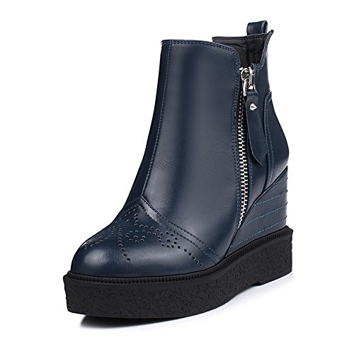 AllhqFashion Damen Niedrig Spitze Reißverschluss Weiches Material Hoher Absatz Stiefel, Blau, 39