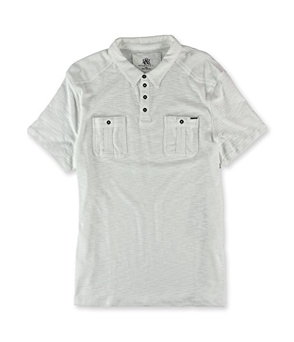 Rock & Republic Mens Military Rugby Polo Shirt White L (Rocks Rugby)