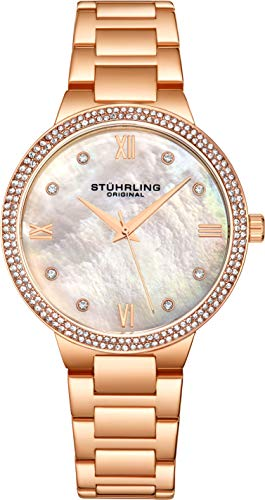 Watch Gold Color Crystal Links (Stuhrling Original Wrist Watches for Women - Rose Gold Tone Case - Pave Crystal Bezel - Silver Mother of Pearl Dial with Crystal Accents, 3907 Womens Watches)