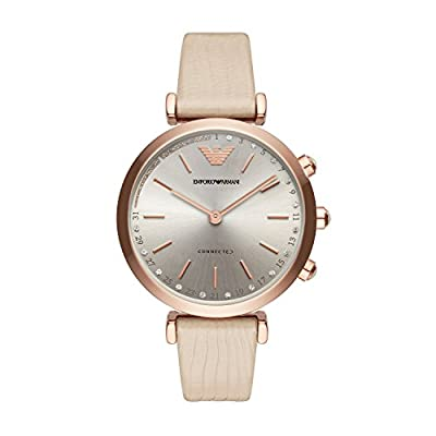 Emporio Armani Women's 'Hybrid' Quartz Stainless Steel and Leather Smart Watch, Color:Beige (Model: ART3020) from Emporio Armani Connected Watches Child Code