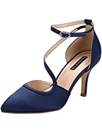 Women Comfortable Mid Heel Ankle Strappy Dress Pumps...