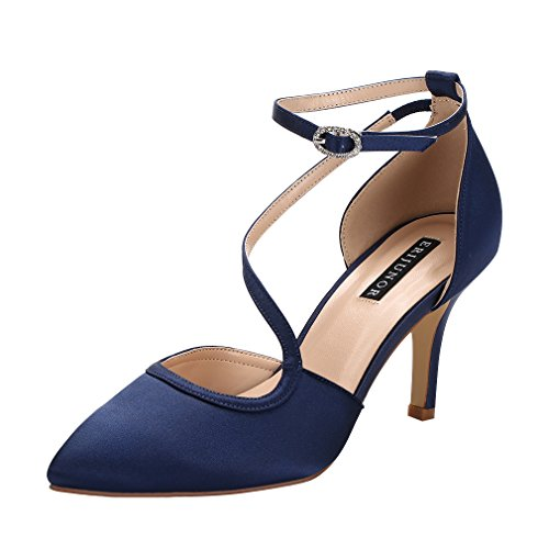 ERIJUNOR E1706 Women Comfortable Mid Heel Ankle Strappy Dress Pumps Pointed Toe Satin Wedding Evening Party Shoes Navy Size 9