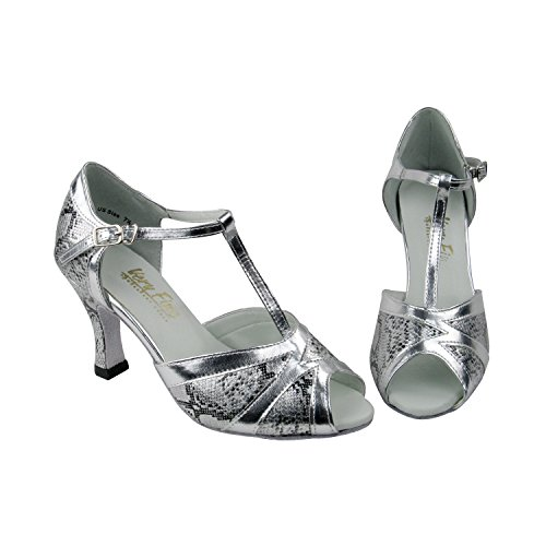 Gold Pigeon Shoes 50 Shades Of Silver Dance Dress Shoes Collection-II, Comfort Wedding Pumps: Women Ballroom Shoes For Latin, Tango, Salsa, Swing, Theather Art by Party Party (2.5, 3 & 3.5 Heels) 2712 #250 Silver & Silver Trim
