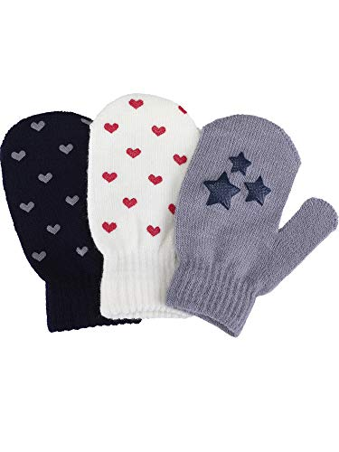 Satinior 3 Pairs Toddler Magic Stretch Mittens Little Girls Soft Knit Mitten Baby Boys Winter Knitted Gloves (1-4 Years Size, Multicolor 13)