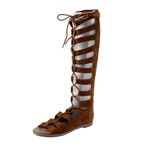 Breckelles DD41 Women Suede Gilly Tie Peep Toe Knee High Gladiator Sandal Tan KpnBbTZNvu