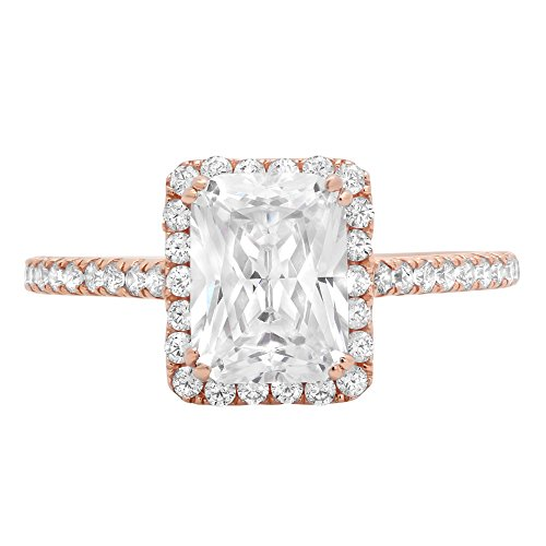 1.78ct Brilliant Emerald Cut Halo Wedding Anniversary Engagement Statement Bridal Ring 14k Rose Gold, 7 by Clara Pucci