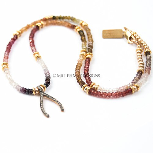 Pavé Diamond Wishbone Necklace   Tundra Sapphire Necklace   Diamond - Tundra Sapphire