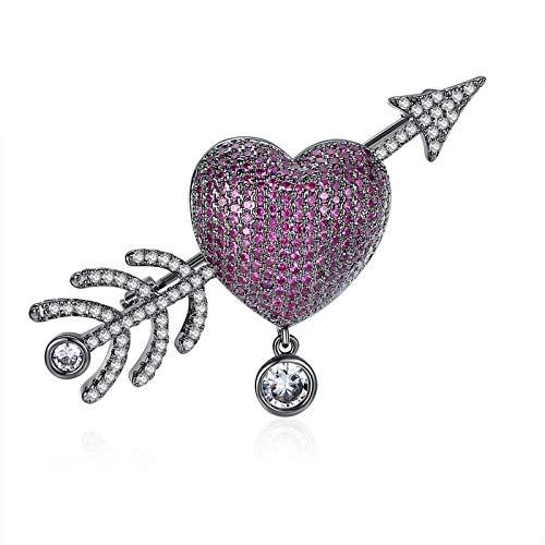 Beydodo Heart Brooches Women Gold Plated Brooch Pins Women Heart Cupid's Arrow Cubic Zirconia ()