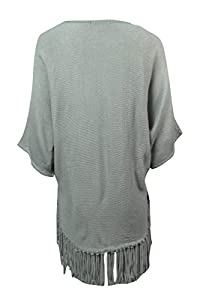 NY Collection Women's Dolman Sleeve Fringe Hem Sweater (M, Drizzle)
