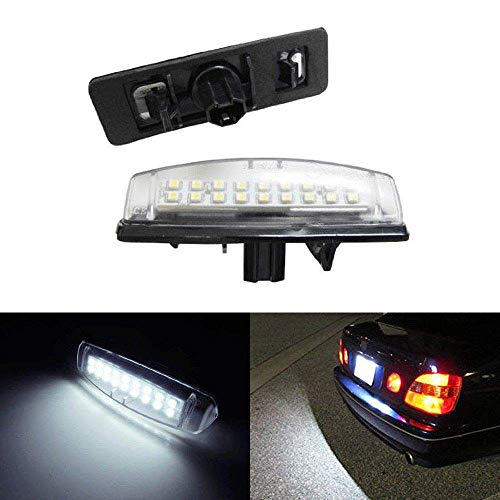 iJDMTOY OEM-Fit 3W Full LED License Plate Light Kit For Lexus IS300 GS300 GS400 GS430 ES300 ES330 RX330 RX350 Toyota Prius, Powered by 18-SMD Xenon White LED