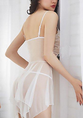 Netto Intimo Erotici Babydoll Notte Senza Elegante Tentazione Lingerie Sling Scollo Pigiama Trasparente Pizzo Giuntura Bianco Da Donna Camicie V Erotico Schienale Filato OO6rx0