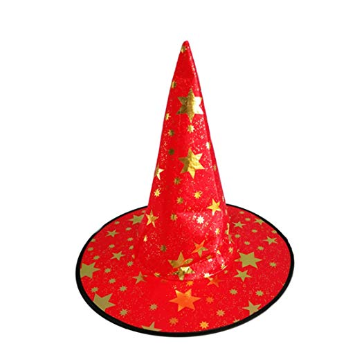Halloween Hat Decorations Costumes Witch Hats Accessory Themed Classic Merlin Deluxe Adults and Kids Stars 1 Pack Red