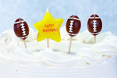 Biedermann & Sons Set of 4 Sports Theme Birthday Candles, 12 Packages, Football