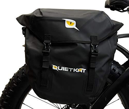 QuietKat 18QKDSB Pannier Saddle Bags Rear Bike Rack, Waterproof Marine Grade Drybag 3, 300 Cubic cm Storage, Black