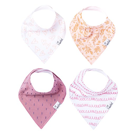 """Baby Bandana Drool Bibs for Drooling and Teething 4 Pack Gift Set For Girls """"Lola"""" by Copper Pearl"""