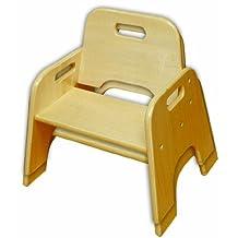 ECR4Kids Stackable Hardwood Toddler Chair, 6-Inch, 2-Pack, Natural