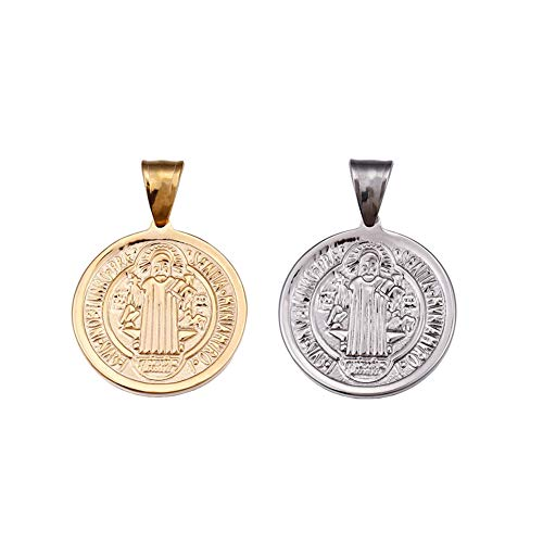 Mystart 2 Pieces Stainless Steel 25mm Saint Benedict Medal Necklace Pendant Cross Religious Round Tag Jewelry