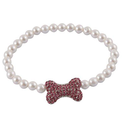 0.3' Beads (DealMux Rhinestone Inlaid Plastic Beads Outdoor Dog Cat Pearls Adjustable Clasp Bone Decor Pet Necklace White)