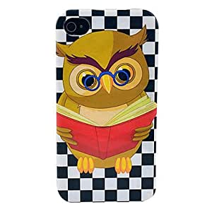 DUR Reading Owl Pattern Soft TPU IMD Case for iPhone 4/4S