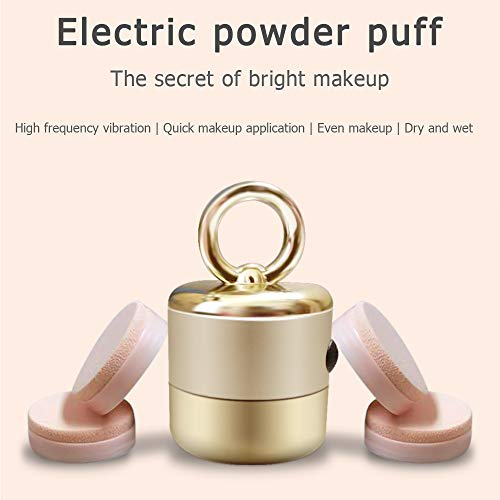 MEISMEIK- Powder Puff Electric With 5 Makeup Sponges-Two Using Methods-The Makeup Is Very Even, No Powder Is Wasted And Hands Are Not Soiled-Suitable For Various Cosmetics[Golden]