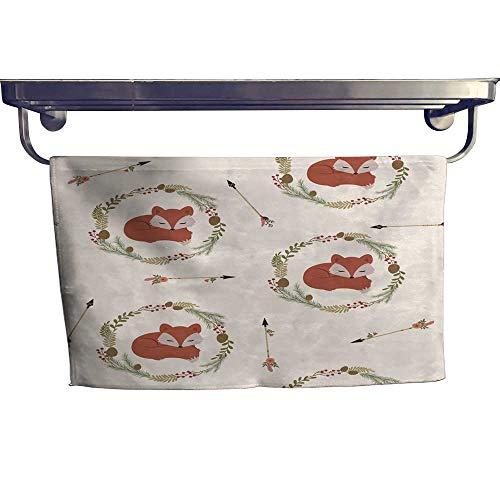 - RenteriaDecor Beach Towels Sleeping Fox in a Wreath Seamless Wallpaper Towel W 14