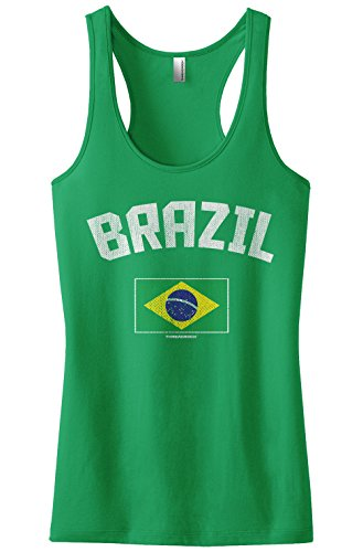 Threadrock Women's Brazil Brazilian Flag Racerback Tank Top S Kelly Green