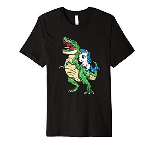 Unicorn Riding T Rex Tyrannosaurus Rex Dinosaur Premium T-Shirt]()