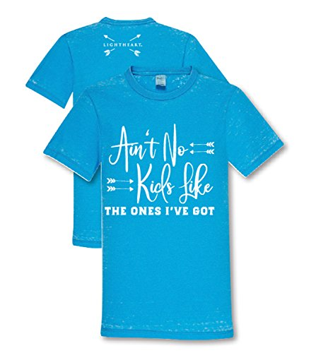 LightHeart Acid Wash Ain't No Kids Front Print Classic Adult Fit T-Shirt - Sky Blue, X-Large