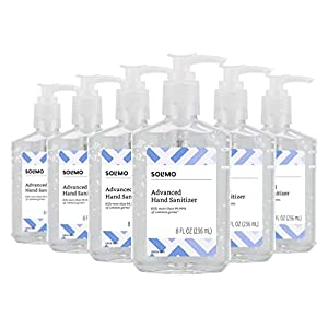 Amazon Brand - Solimo Hand Sanitizer with Vitamin E, 8 Fluid Ounce (Pack of 6)