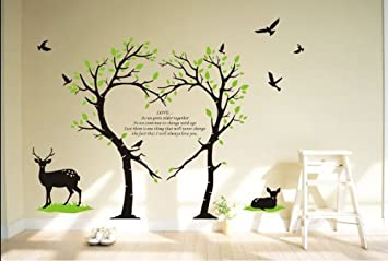 Tree Deer Wall Decal Love Tree Bird Wall Decal Tree Deer Decal For Nursery Wall  Stickers