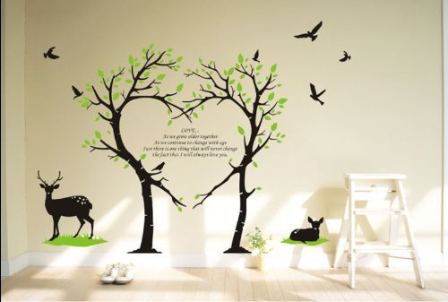Attirant Amazon.com : Tree Deer Wall Decal Love Tree Bird Wall Decal Tree Deer Decal  For Nursery Wall Stickers Living Room Wall Decor : Baby