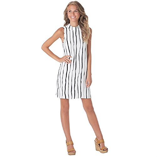 Mud Pie Jade Poly Crepe Sleeveless Shift Dress In Painterly Black Stripe Womens Apparel (Small) for $<!--$49.99-->