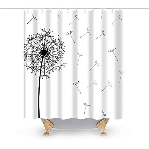 Thistle Dandelion Floral Clear Theme Fabric Shower Curtain Sets Bathroom Decor with Hooks Waterproof Washable 72 x 72 inches Black and White ()
