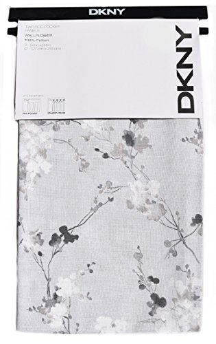 DKNY Spring Blossom Floral Branches Window Curtains Panels Set of 2 Hidden Tabs Drapery Gray Printemps Botanical Nature Charcoal Grey White (Blossom Drapery)