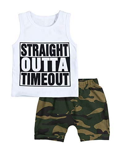 Toddler Infant Baby Boy Summer Clothes Straight Outta Timeout Vest +Camouflage Shorts Outfit Set(0-6Months)