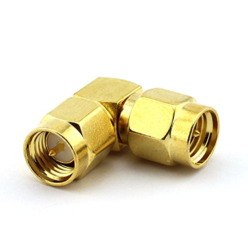 Male Right Angle Both Ends (DGZZI 2-Pack SMA Male to SMA Male Right Angle Adapter SMA RF Coaxial Coax Jack Connector)