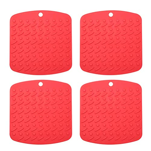 Pot Mat Silicone Insulated Trivet Pad Food Grade for Hot Dishes Jar Opener Gripper Kitchen 4Pcs