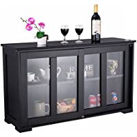 Modern Black Storage Cabinet Cupboard Buffet Sideboard Dining Kitchen Shelves