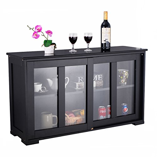Modern Black Storage Cabinet Cupboard Buffet Sideboard Dining Kitchen Shelves - Large Sideboard