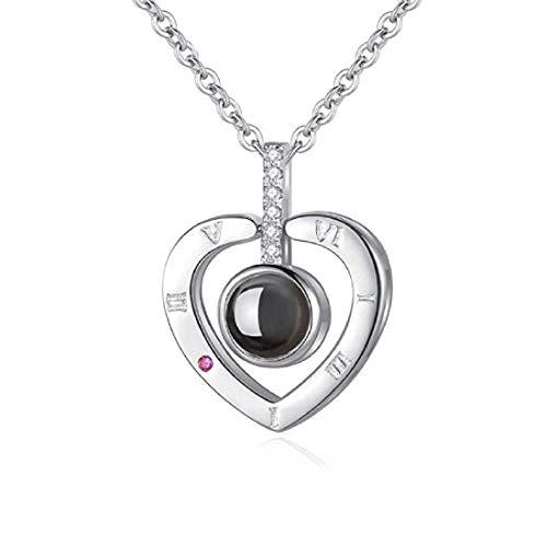 QueenDer Collar de Mujer Love Memories Collar de clavicula 100 Idiomas I Love You Zircon Cadena Colgante con 18 Pulgadas para Mujeres ninas (Oro Rosa/Plata) (Amor Plata)