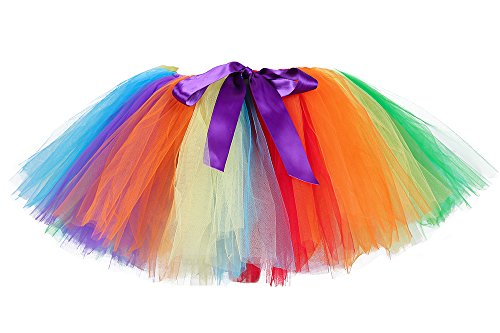 Tutu Dreams Rainbow Tutu for Women 80s Vintage Skirts Clown Circus Unicorn Costume Candy Ballet Fluffy Tulle Halloween Holiday Dress Up Free Size]()