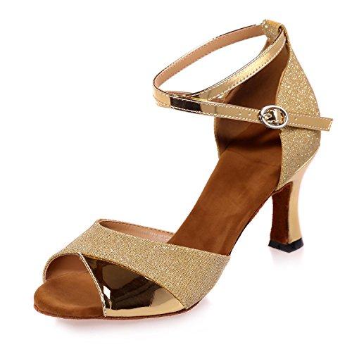 220 Zapatillas Latinas Chicas 5 7 yc Personalizables Cubanas De Baile Mujeres L Gold Con Colores Para Multi F6qpxW