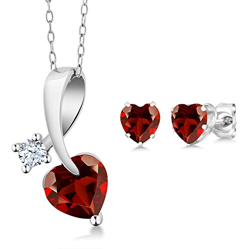 2.51 Ct Heart Shape Red Garnet 925 Sterling Silver Pendant Earrings - Shape Pendant Garnet Earrings