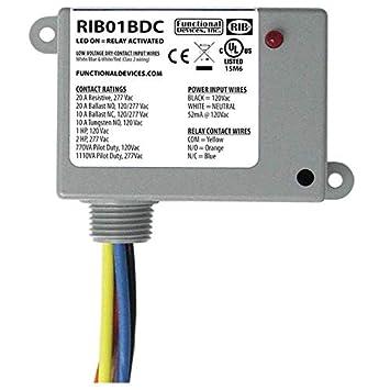 RIB RIB01BDC Dry Contact Input Relay, 20A, 120VAC, SPDT on