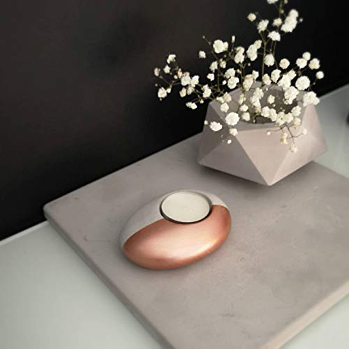 Concrete Pebble Tea Light Candle Holder, Rose Gold Tealight Cement Stone Candleholder, Spa Gift ()