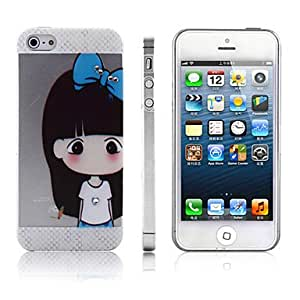 ZXSPACE Lovely Girl with Bowknot Pattern PC Hard Case for iPhone 5/5S