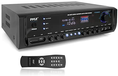 Pyle Wi-fi Bluetooth Energy Amplifier System 300W 4 Channel House Theater Audio Stereo Sound Receiver Field Leisure w/ USB, RCA, 3.5mm AUX, LED, Distant for Speaker, PA, Studio- PT390BTU,BLACK